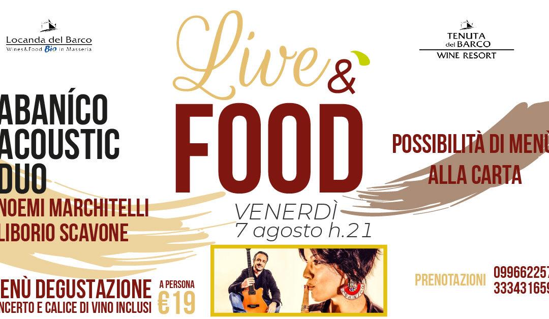 🎷 LiveéFood | venerdì 7 agosto | Abaníco Acoustic Duo in concerto
