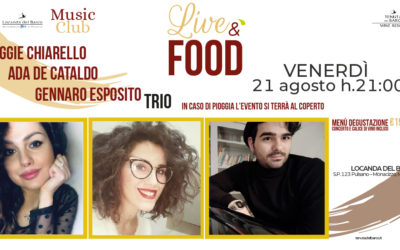 🎷 LiveéFood | venerdì 21 agosto | Chiarello De Cataldo Esposito TRIO in concerto